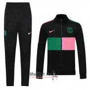 Ensemble Survetement Veste FC Barcelone 2020-2021 Rosa Y Vert