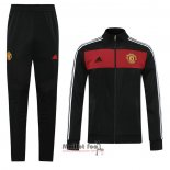 Ensemble Survetement Veste Manchester United Retro 2020-2021 Noir